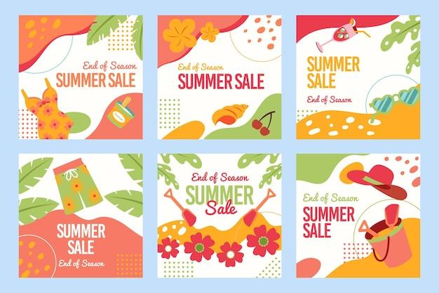 Colección de publicaciones de instagram de rebajas de verano
