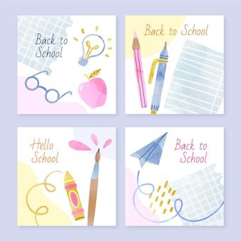 Colección de publicaciones de instagram de regreso a la escuela en acuarela