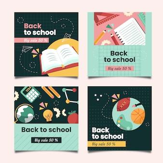 Colección de publicaciones de instagram de regreso a la escuela de diseño plano