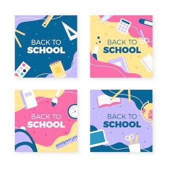 Colección de publicaciones de instagram de regreso a la escuela