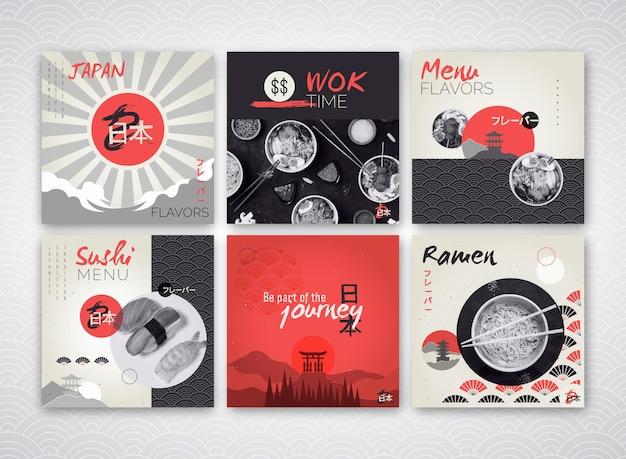 Colección de publicaciones de instagram para restaurante de comida japonesa