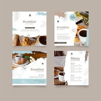 Colección de publicaciones de instagram de restaurante de desayuno