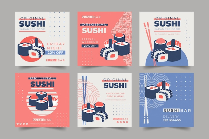 Colección de publicaciones de instagram para restaurante de sushi