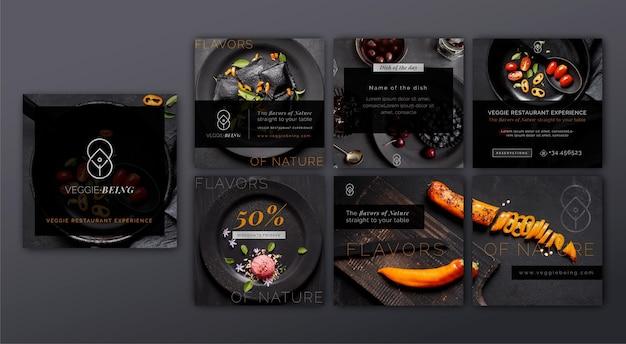 Colección de publicaciones de instagram de restaurantes saludables
