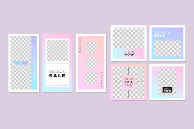 Colección de publicaciones de instagram rosa y azul