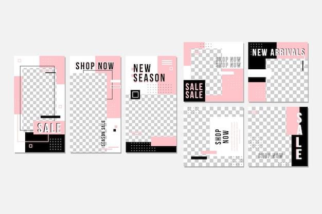 Colección de publicaciones de instagram rosa y negro