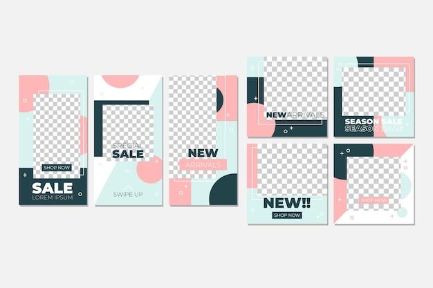 Colección de publicaciones de instagram rosa pastel