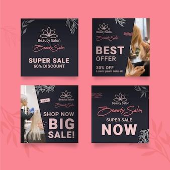 Colección de publicaciones de instagram de salón de belleza