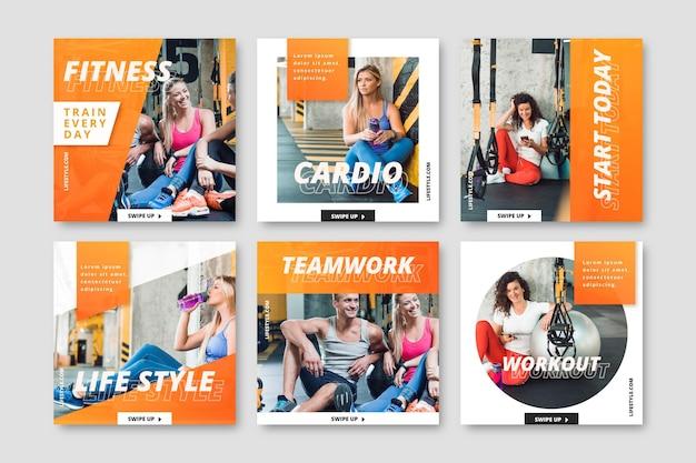 Colección de publicaciones de instagram de salud y fitness con degradado con foto