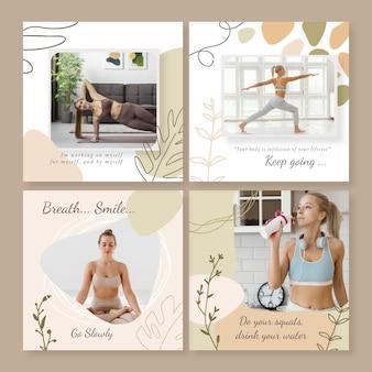 Colección de publicaciones de instagram de salud y fitness dibujadas a mano con foto