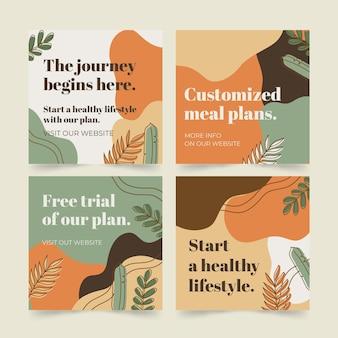 Colección de publicaciones de instagram de salud y fitness dibujadas a mano