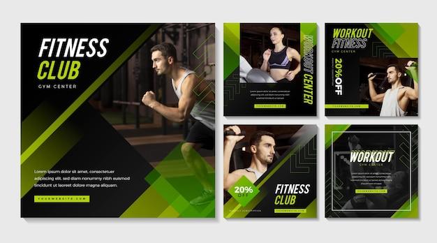 Colección de publicaciones de instagram de salud y fitness planas con foto