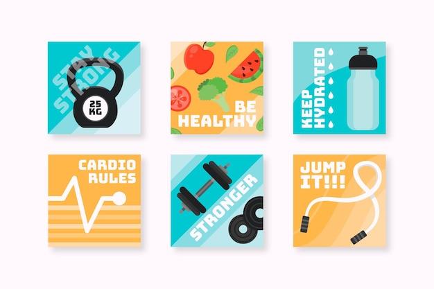 Colección de publicaciones de instagram de salud y fitness planas
