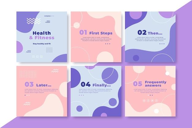 Colección de publicaciones de instagram de salud y fitness
