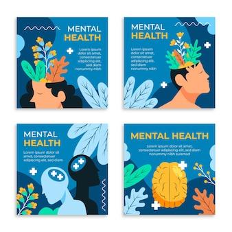 Colección de publicaciones de instagram de salud mental plana