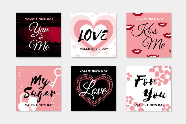 Colección de publicaciones de instagram de san valentín