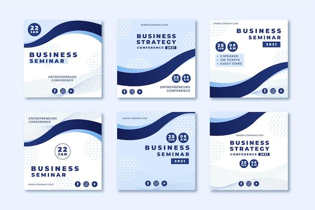 Colección de publicaciones de instagram de seminarios de negocios
