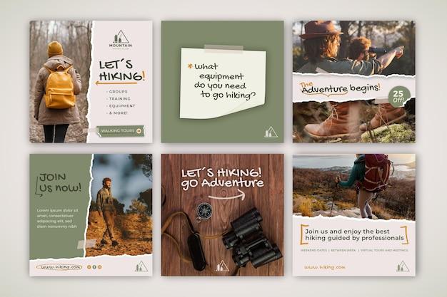 Colección de publicaciones de instagram de senderismo