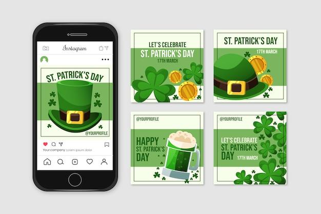 Colección de publicaciones de instagram con st. día de san patricio
