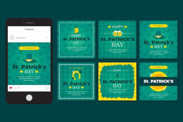 Colección de publicaciones de instagram con st. diseño del día de patricks