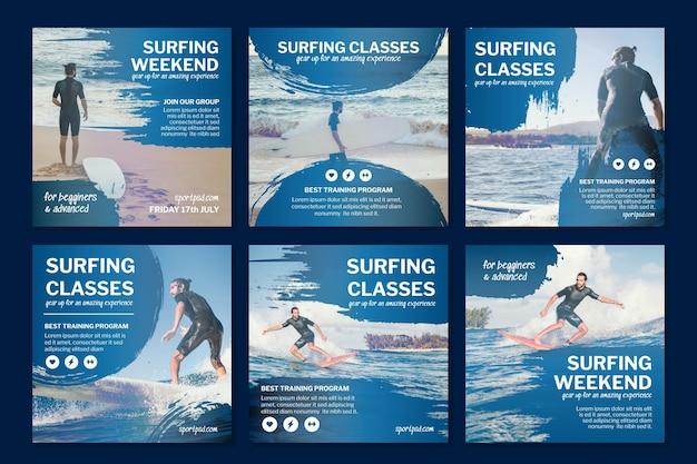 Colección de publicaciones de instagram de surf