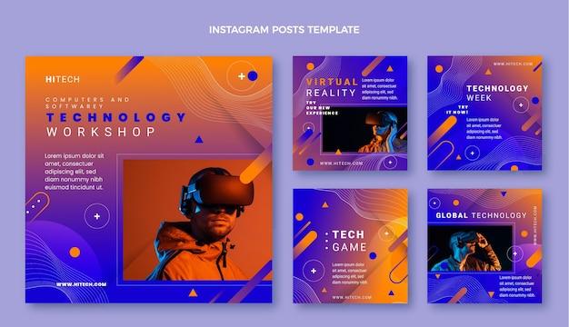 Colección de publicaciones de instagram de tecnología abstracta degradada