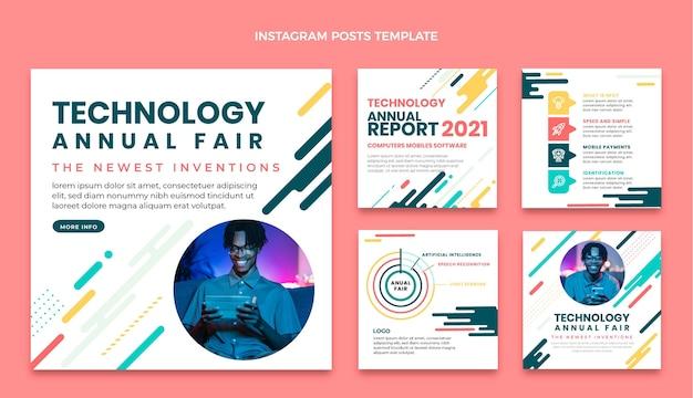 Colección de publicaciones de instagram de tecnología minimalista plana