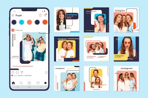 Colección de publicaciones de instagram en teléfono móvil