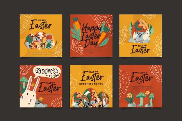 Colección de publicaciones de instagram con el tema del día de pascua