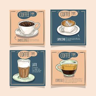 Colección de publicaciones de instagram de tipos de café