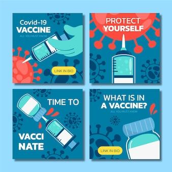 Colección de publicaciones de instagram de vacuna de diseño plano