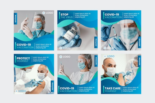 Colección de publicaciones de instagram de vacuna gradiente con fotos