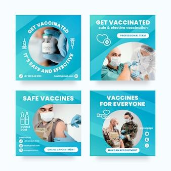 Colección de publicaciones de instagram de vacuna gradiente vector gratuito