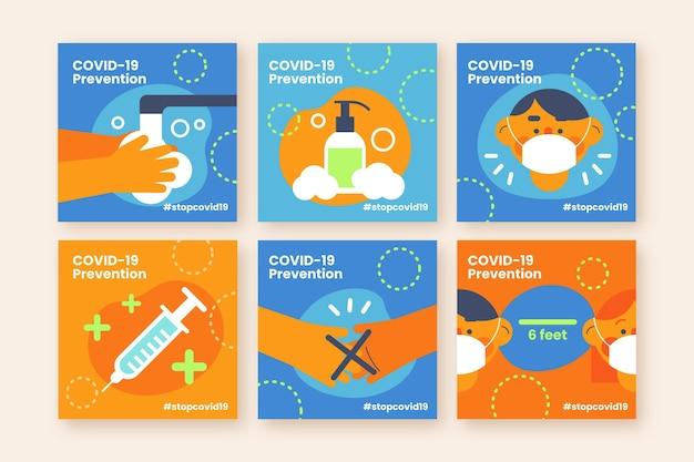Colección de publicaciones de instagram de vacuna plana