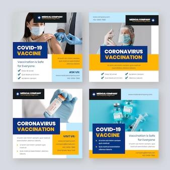 Colección de publicaciones de instagram de vacunas planas con fotos
