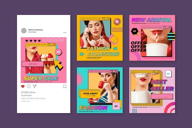 Colección de publicaciones de instagram de vaporwave lineal