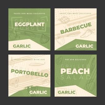 Colección de publicaciones de instagram veganas