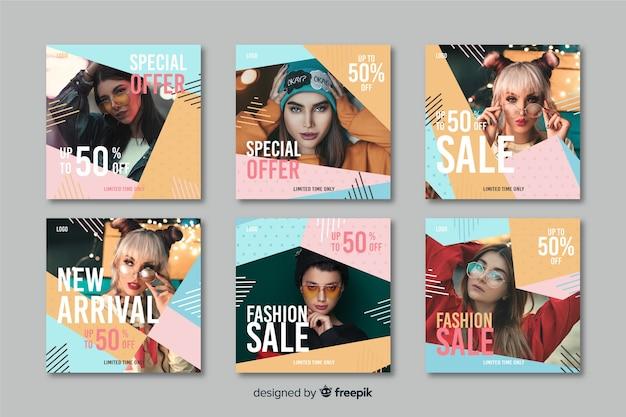 Colección de publicaciones de instagram de venta abstracta colorida con foto