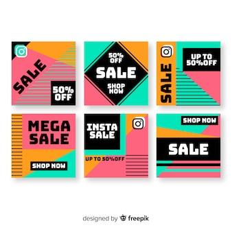 Colección de publicaciones de instagram de venta abstracta colorida