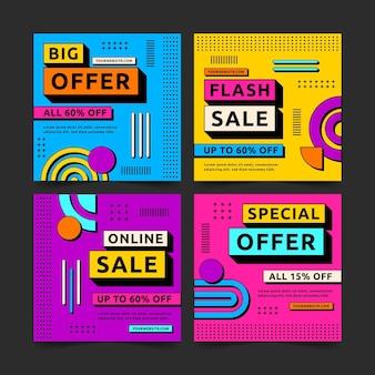 Colección de publicaciones de instagram de venta colorida de diseño plano