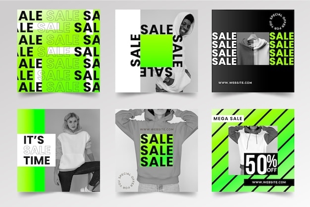 Colección de publicaciones de instagram de venta degradado