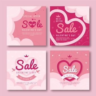 Colección de publicaciones de instagram de venta del día de san valentín