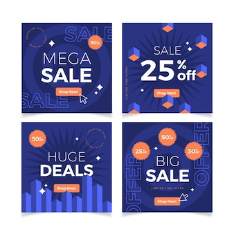 Colección de publicaciones de instagram de venta de diseño plano