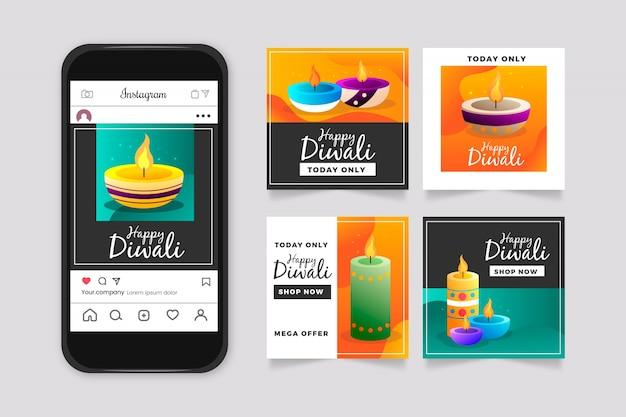 Colección de publicaciones de instagram de venta de diwali