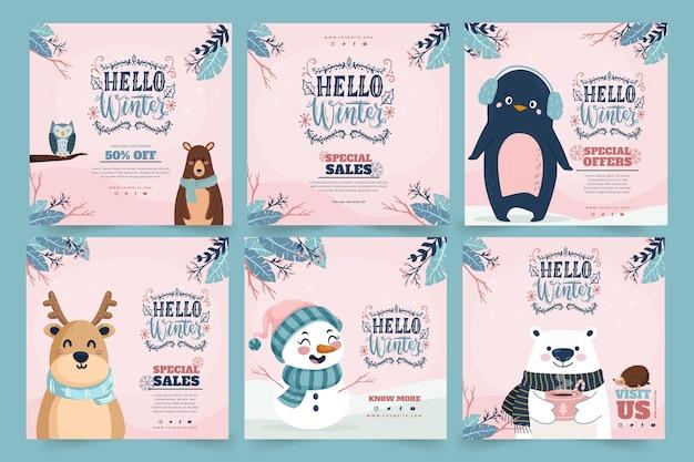 Colección de publicaciones de instagram para la venta de invierno con animales