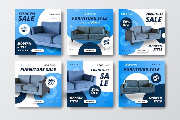 Colección de publicaciones de instagram de venta de muebles planos