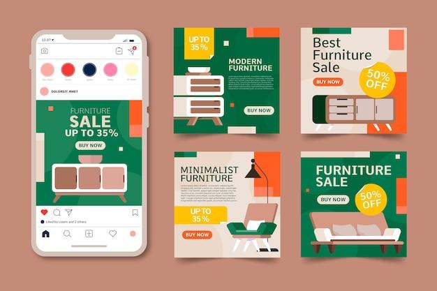 Colección de publicaciones de instagram de venta de muebles planos vector gratuito