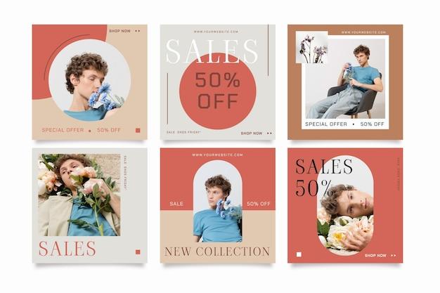 Colección de publicaciones de instagram de venta plana con foto