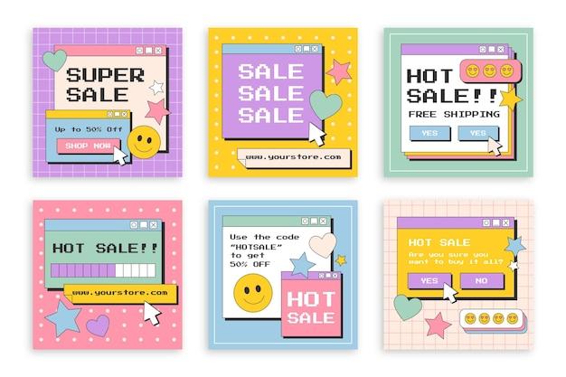 Colección de publicaciones de instagram de venta plana lineal
