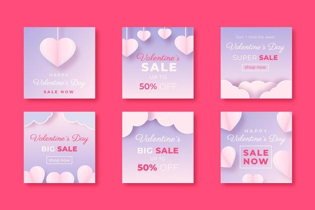 Colección de publicaciones de instagram de venta de san valentín en estilo de papel